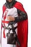 5-teiliges Kreuz-Ritter Kostüm-Set für Herren | Größe 58/60 | Kämpfer Kostümierung für Karneval | Krieger-Verkleidung in Rot-Weiß für Fasching | Mittelalter Karnevalskostüm für Fastnacht & Mottopartys - 5