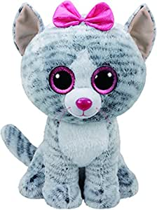 Ty 36838 Kiki Cat Plush Toy with Glitter Eye Glubschi's Beanie Boo's, 42 cm, Grey