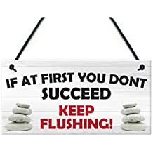 TOOGOO(R) If At First You Don't Succeed Keep Flushing! Hanging Bathroom Sign Funny Toilet Wall Decor Plaque
