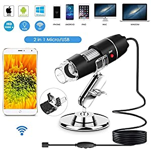 Wifi USB Digital Handheld Microscope, 40 to 1000x Wireless Magnification Endoscope 8 LED Mini with Suction and Metal Stand, Compatible with IOS Mac Windows Android