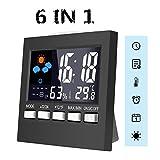 MOHOO 6 IN 1 Thermometer innen digital Thermo-Hygrometer, Hygrometer, komfortable Funk-Wetterstation, Feuchtigkeitsmesser, Temperaturmesser, Wecker, Datumsanzeige, Nachtlichtfunktion, 9.2cm x 9.2cm