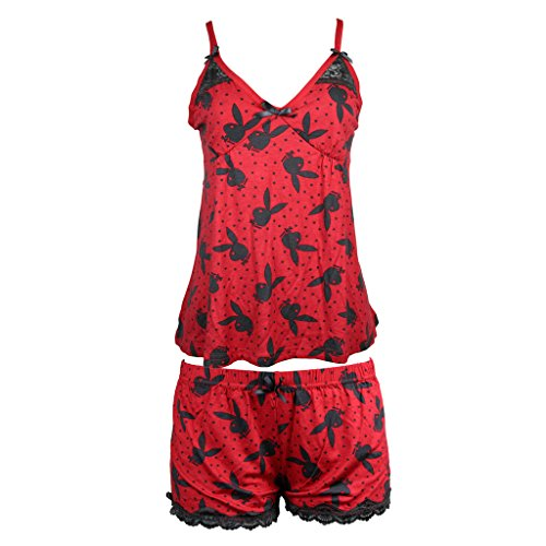 playboy-sleepwear-womens-spaghetti-string-tank-top-and-shorts-set-red-black-size-small