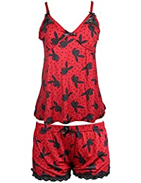 Playboy Sleepwear Womens Spaghetti String Tank Top and Shorts Set Red / Black