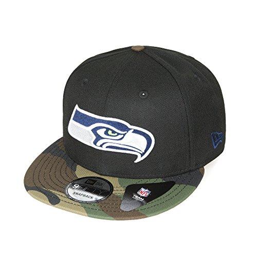 New Era - Seattle Seahawks - Snapback Cap 9Fifty OneSize - Unisex - NFL Football - schwarz camouflage -Herren Frauen Kappe (Schwarz Camo-logo-hut)