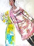 """Sibylle Rettenmaier """" CHARLOTTE HAT EINEN LINKSDRALL"""" Original Kunst – Leinwandbild - handgemaltes Unikat in Acryl – Moderne Kunst – Frauenporträt mit Blumen 120 x 160 cm"""