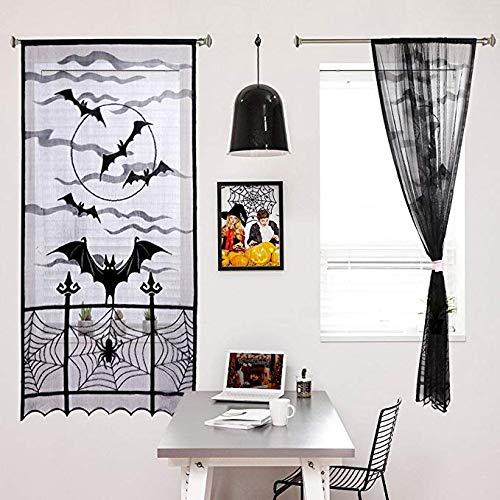 Sunjing Halloween Cobweb Vorhang Türtafel Dekor Schwarze Spitze Mit Spinnen Web-Fledermäuse Für Heimgesuchte Haus Halloween Und Andere Parteien 84Zoll X 40Inch/213Cm X ()