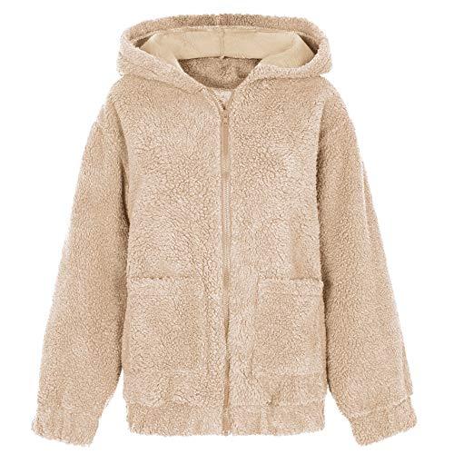 XIEPEI Winterpullover Frauen Langarm Zip Kapuzenjacke Pullover Mit Kapuze Baumwolle Winterpullover Langarm Kapuzenpullover
