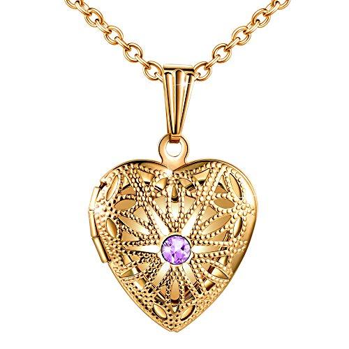 MicLee Collares Foto Mujer, Collar con Cadena Colgante Corazon con Brillante Circonita Púrpura (Color de Oro)