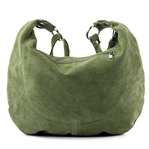 Borsa a mano borsa a tracolla shopping bag donna in vera pelle italiana T02 Oliv