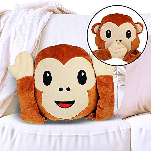 Monsterzeug Affen Emoji Kissen mit Klettverschluss an den Händen, 3 in 1 Äffchen, Augen zu, Ohren zu, Mund zu, Monkey Emoticon