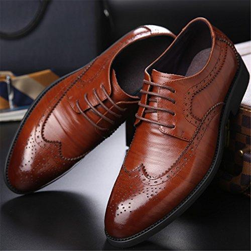 HENGJIA Herren Freizeitliche Arbeitsschuhe Klassischer Schnürhalbschuh Oxford-Schuh 2105 Braun