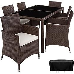 TecTake Conjunto Muebles De Jardín En Ratán Sintético 6+1 | Tornillos De Acero Inoxidable | Funda completa - disponible en diferentes colores - (Mixed marrón | no. 402059)