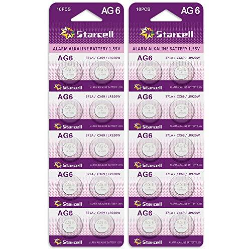 Act 20 Alkaline Knopfzellen ohne Quecksilber AG6/LR69/LR921/371 (1,5 Volt, 10er Pack)