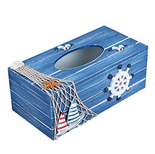 Lumanuby 1x Blau Holz Taschentuch Box Rectangular Mediterraner Stil Kosmetiktuchspender mit Ruder Decal Tisch Decoration für Haushalt Restaurant, Büro size 24*12*9.5CM