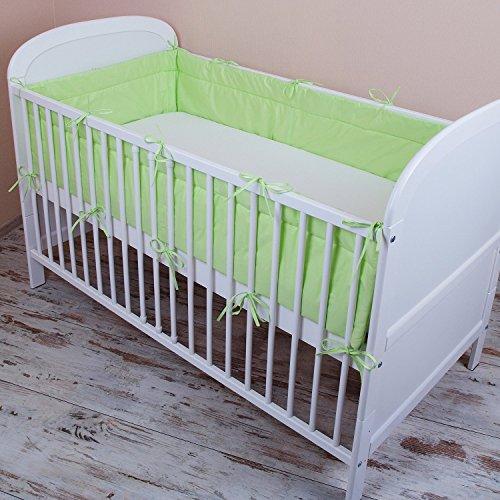 Amilian® Bettumrandung Nest Kopfschutz Nestchen 420x30cm, 360x30cm, 180x30 cm Bettnestchen Baby Kantenschutz Bettausstattung Einfarbig: Hell - Grün (360x30)