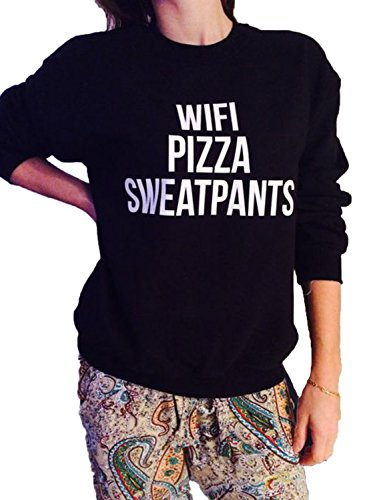Wifi Drucken (Nlife Frauen WIFI PIZZA SWEATPANTS Brief Drucken mit langen Ärmeln Bluse Sweatshirt)