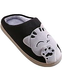 Adulto Unisex Zapatillas Suave Peluche Shoes Cartoon Gato Zapatos Pareja Slippers