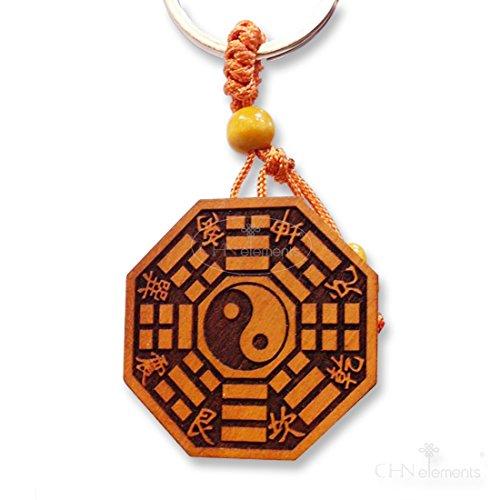 Beautiful Peach Legno Portachiavi con YinYang Ba Gua e taoismo simbolo su