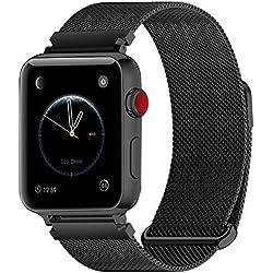 Fullmosa Bracelet Compatible avec Apple Watch/iwatch 38mm 40mm 42mm 44mm, 4 Couleurs Web pour Bracelet Apple Watch Series 4/3/2/1 Milanese en Acier Inoxydable avec Fermeture Magnétique, Noir 42mm