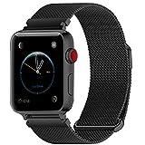 Fullmosa Bracelet Compatible avec Apple Watch/iwatch 38mm 40mm 42mm 44mm, 4 Couleurs Web pour Bracelet Apple Watch Series 4/3/2/1 Milanese en Acier Inoxydable avec Fermeture Magnétique, Noir 40mm