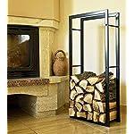 DanDiBo Porte bois de chauffage 100cm noir 80009 Corbeille bois Etagère bois de cheminée Support bois de cheminée Etagère bois Etagère