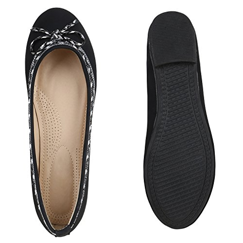 Stiefelparadies Klassische Damen Ballerinas Slippers Flats Übergrößen Flache Schuhe Metallic Spitze Glitzer Abendschuhe Flandell Schwarz Schleife