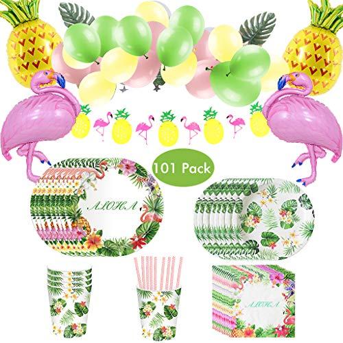 Amycute 101 Pezzi Forniture per Hawaiano Festa Compleanno, Stoviglie di Hawaiano e Fenicotteri Palloncini a Elio Ananas per Tropical Summer Beach Forniture per Feste Decorazione