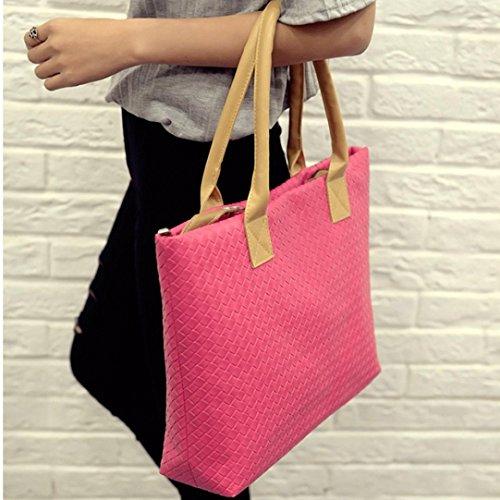 ZARU Frauen-Handtasche Schultertasche Leder Messenger Hobo Bag Satchel Hot Pink