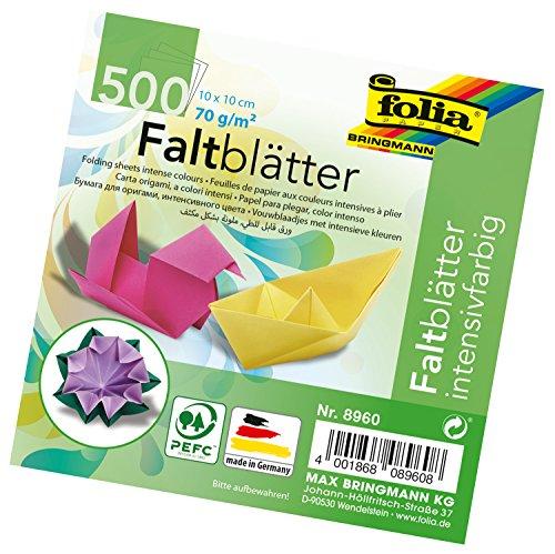 folia 8960 - Faltblätter 10 x 10 cm, 70 g/qm, 500 Blatt sortiert im 10 Farben