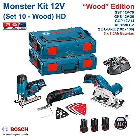 BOSCH Monster Kit 12V Set 10 HD Holz Edition (GKS 12V-26 + GOP 12V-LI + GST 12V-70 + 3 x 2,0 Ah + AL1230CV + L-Boxx 102 + L-Boxx 136),0 Ah + AL1230CV + L-Boxx 102 + L-Boxx 136)