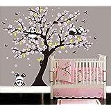 BDECOLL Gran árbol de la pared de calcomanía con panda Wall Sticker Nursery Sala de estar (rose)