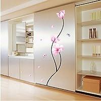 Bluelover Rimovibile in PVC rosa fiore stelo parete adesivi camera Decor