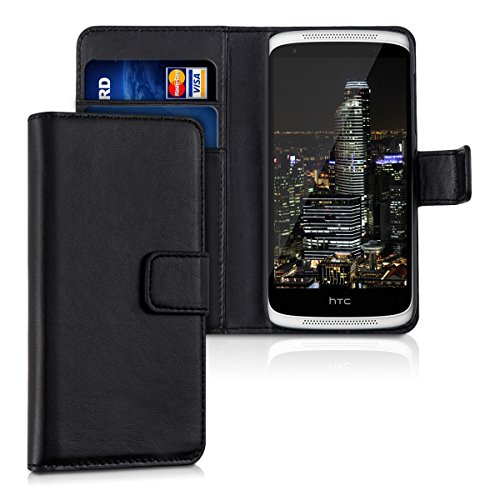kwmobile Tasche passend für HTC Desire 526G - aus [Kunstleder] - Case mit [Kartenfächer] in [Schwarz]