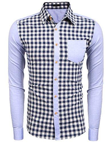 Burlady Herren Hemd Kariert Cargohemd Trachtenhemd Baumwolle Freizeit hemden Oktoberfest Blau