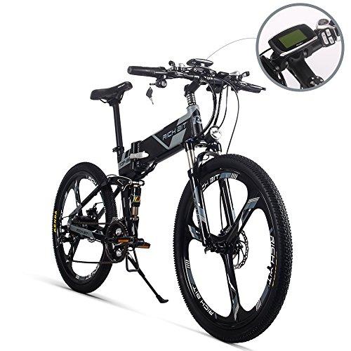 Unbekannt Elektrisches Falten Mountainbike Mens Fahrrad MTB RT860 12.8Ah Lithium-Ionen-Akku 7 Stufen Pedelec Geschwindigkeit High Function Tachometer 50-60KM Radfahren Range Dual Susepension Grau