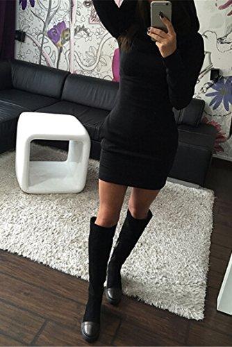Loose Women cou a manches longues moulantes Sexy Robe crayon Mini robes Noir