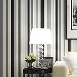 AIEK Moderne Minimaliste Vertical Rayé PVC Papier Peint Noir et Blanc Couleur Salon Chambre Décoration 0.53m10m, Black and White Stripes
