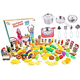 Accessori di Cucina di gioco per bambini. set di pentole e padelle per bambini set con cibo in plastica da cucina per…