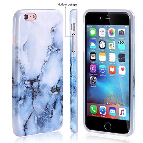 Cover iPhone 6/6S Plus marmo nero silicone Guscio morbido DECHYI TPU silicone e IMD disegno marmo Custodia serie -Nebulosa nera Verde e bianco