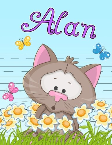 "Alan: Personalized Book with Child's Name, Primary Writing Tablet for Kids, 65 Sheets of Practice Paper, 1"" Ruling, Preschool, Kindergarten, 1st Grade, 8 1/2"" x 11"""