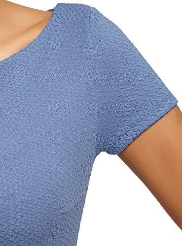 oodji Ultra Damen Kleid aus Strukturiertem Stoff mit U-Boot-Ausschnitt Blau (7500N)