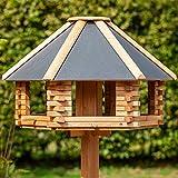 VOSS.garden Holzvogelhaus Tofta mit Metalldach und Sitzstangen | sechseckig | hochwertig und wetterbeständig | Vogelvilla Vogelfutterhaus Vogelfutterstation