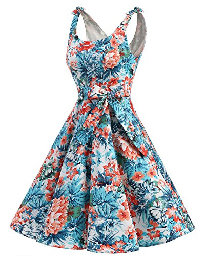bbonlinedress 1950er Vintage Polka Dots Pinup Retro Rockabilly Kleid Cocktailkleider Blue Red Flower S - 2
