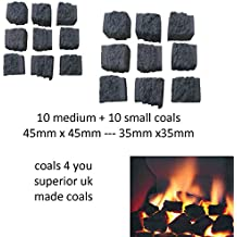 2 packs of coals 10 small & 10 medium Gas fire Replacements/Bio Fuels/Real flame in coals 4 you packing