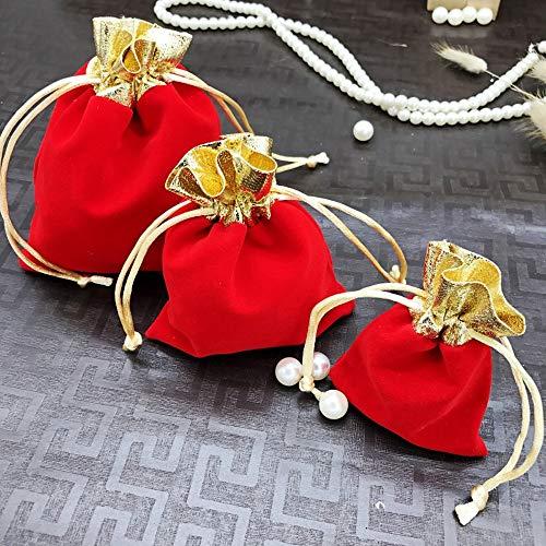 Homixes 50 pezzi morbido velluto borsa di gioielli sacchetti regalo raso con coulisse portaconfetti per nozze regalo caramella partito natale mestiere fai da te