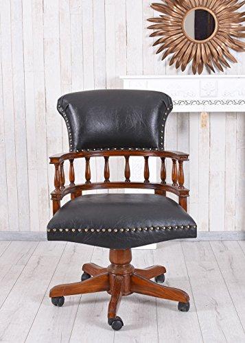 Unbekannt Captains Chair Drehstuhl Antik Bürosessel Ledersessel Bürostuhl auf Rollen Palazzo Exklusiv