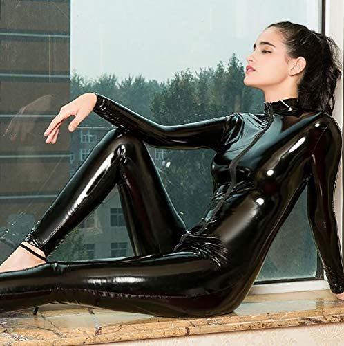 SHANGXIAN Frau Latex Catsuit Bodysuit Sexy Wetlook Doppelter Reißverschluss Schritt öffnen Nachtclub Tanzabnutzung Leder Dessous,Black,L