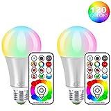 iLC LED Farbige Leuchtmittel RGB+Weiß Lampe Edison Dimmbare Farbige - 120 Farben RGBW - 10 Watt E27 Fassung LED Birnen - Kabellos Fernbedienung inklusive (2-er Pack)
