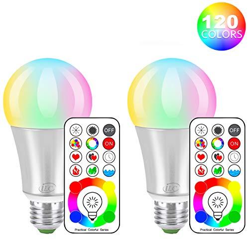 iLC LED Farbige Leuchtmittel RGB+Weiß Lampe Edison Dimmbare Farbige - 120 Farben RGBW - 10 Watt E27 Fassung LED Birnen - Kabellos Fernbedienung inklusive (2-er Pack) -