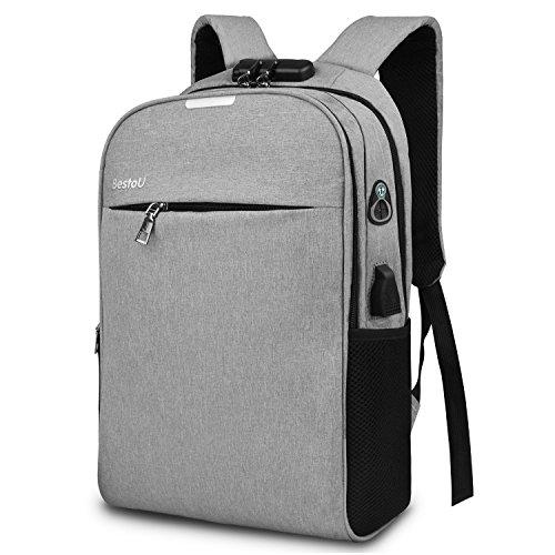 Rucksack herren arbeit business laptop rucksack damen Anti-diebstahl wasserdicht 15,6 zoll für Schule Reise Arbeit (Grau)